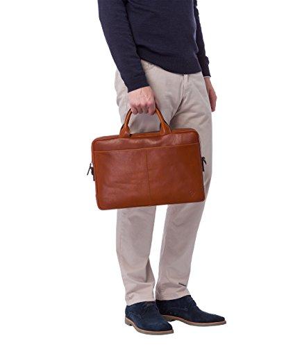 VON HEESEN Echtleder Aktentasche Laptoptasche bis 15,4 Zoll - MADE IN ITALY - Business-Tasche mit gepolstertem Laptopfach Ledertasche Umhängetasche Notebooktasche für Damen & Herren (Schwarz) Cognac-Braun