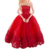 3 Pcs Clothes Wedding Party Gown Outfits For Barbie Dolls Baby Dolls Clothes, BeautyTop American Girl Doll Cute Pajamas Nightgown Clothes,Pure Wedding Dress For Barbie Doll Evening Party Clothes For Barbie Dolls