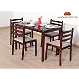 Mamta Decoration Sheesham Wood Dining Set for Living Room (4 Seater, 4 Chair & Table (Brown)