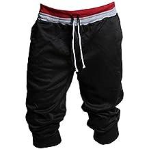Deporte de los hombres pone en cortocircuito, Internet Sport pantalones pantalones cortos holgados del Harem de baile activan los pantalones de entrenamiento (Negro, M)