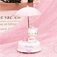 Night Light Led Cute Resin Pink Kk Cat Umbrella Night Lamp for Baby