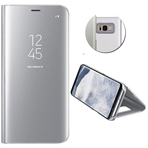 MP4 Telecom Coque Etui Housse pour Samsung Galaxy s8 Plus + Film de Protection Souple Clear View Etui à Rabat Cover Flip Case Miroir Antichoc Téléphone Portable Samsung Argent