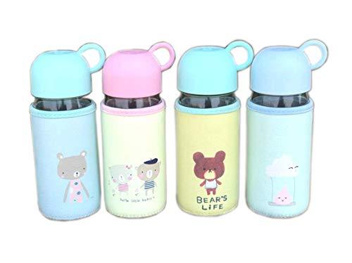 generisch Glas Wasserflasche 400ml mit Schutzhülle Glastrinkflasche mit Hülle Trinkflasche für Kinder Schülerin Mädchen BPA Frei für Schule Büro Reise Zufällige Farbe