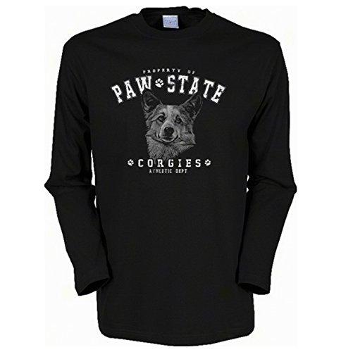 Langarmshirt, Farbe: Schwarz, USA Motiv: Paw State Corgies Schwarz