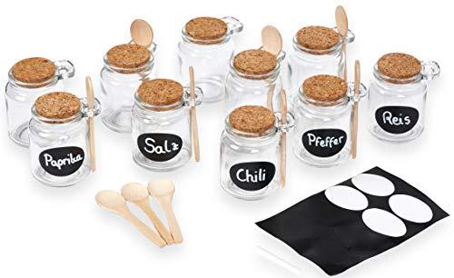 DM Products Exklusives 10er Vorratsgläser Set - 250ml Korkdeckel - Bambuslöffel - Sticker - Kreide - für Ihr Gewürzregal. Nachhaltige Gewürzgläser