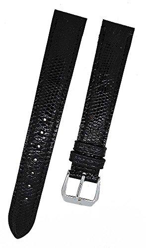 Fortis Swiss Leder Uhrenarmband Schwarz mit schwarzer Naht 16mm 8802