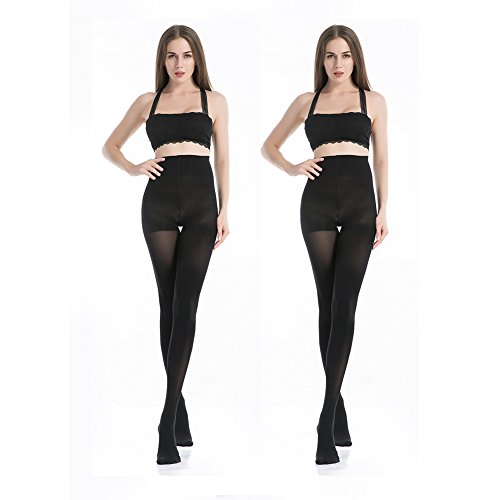 MANZI 2 Pairs 70 Denier Women's Tights Stretch Run Resistant Opaque Control Top Tights
