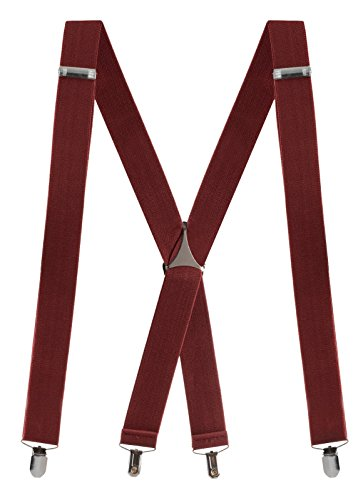 Buyless Fashion verstellbare und elastische Herren X-Hosenträger 3,8 cm breit - Metallclips - 5104 Farbe: Burgundy