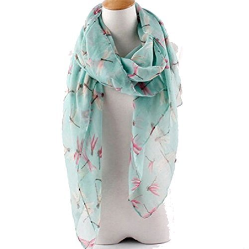 JaneDream 1x Womens Dragonfly Print Voile Scarf Fresh Style