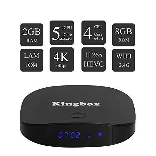 Kingbox   [2017 Última Edición] K1 PLUS Android 6.0 TV Box de 2GB RAM + 8GB ROM/ 4K/ Penta Core/ H.265/ BT 4.0 con Mini Teclado Inalámbrico Smart TV Box