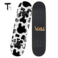 """VOKUL Complete Skateboard for Kids Boys Girls Beginners - 31"""" X 8"""" inch Standard Skateboard with 7 Layer Maple Double Kick Concave Cruiser Skateboard with Beauty Pattern for Kids Youths Adults"""
