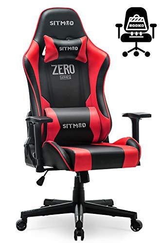 SITMOD Gaming Stuhl Gamer Sessel Ergonomische Racer Stühle 200kg Kapazität Lehnstuhl für PC Computer Stuhl mit Leuchtende Stickerei PU-Lede E-Sports Gamer Sitz Groß und Hoch (Rot)