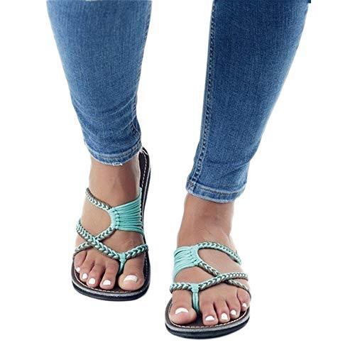 AARDIMI Sandalen Damen Frauen Flip Flops Kreuzband Geflochtene Sandalen Roman Schuhe Sommer Woven Strap Mode Strand Hausschuhe Flacher Anti Rutsch (39, Grün)