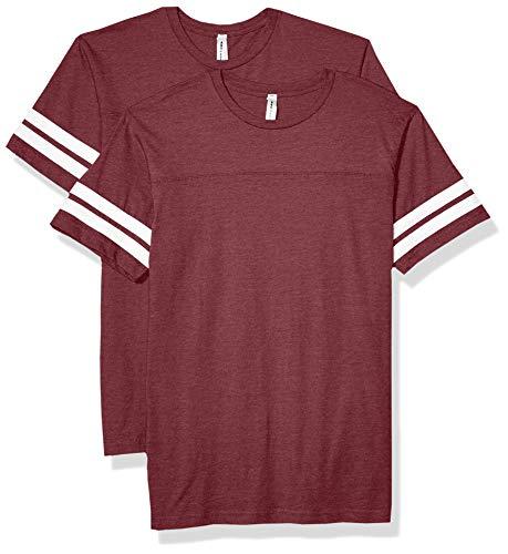 AquaGuard Herren Fine Jersey Football Tee-2 Pack T-Shirt, Vn Brgndy/Blue White, Groß -