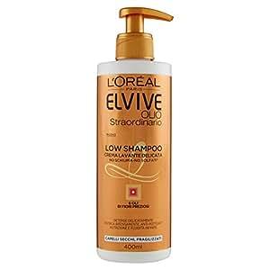L'Oréal Paris Elvive Low Shampoo Olio Straordinario, Shampoo Senza Schiuma e Senza Solfati per Capelli Secchi, 400 ml