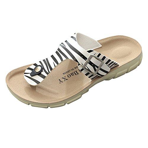 Unisex-Erwachsene Zehentrenner - Herren Flip-Flops Damen Komfort Sandalen Sandaletten Zebra