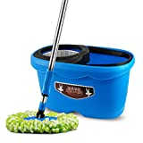 HUIFANG Easy Wring Stainless ABS + PP Rotary Mop And Bucket System Secchio E Benna Rotante Separati con 2 Ricariche Extra Blu (Colore : Blu, Dimensioni : 25 * 27 * 46CM)