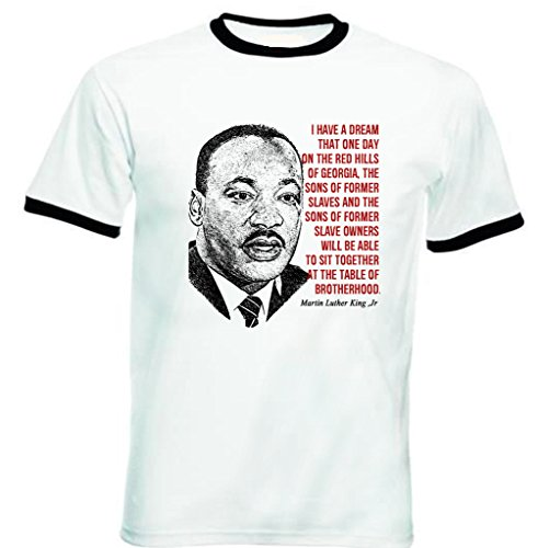 Jr Ringer (Teesquare1st Men's MARTIN LUTHER KING JR Black Ringer T-Shirt Size XXLarge)