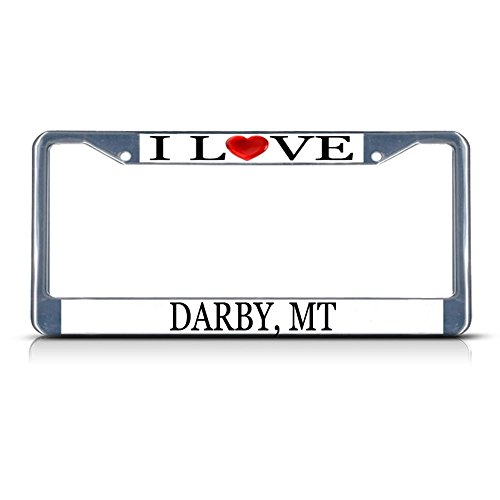 Darby Metall (I love Herz Darby, MT chrom Metall Nummernschild Rahmen Tag Bordüre)