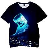 Camiseta para Niños 3D Impresión Gráfica Marshmello DJ Cool Hip Hop Manga Corta(M)