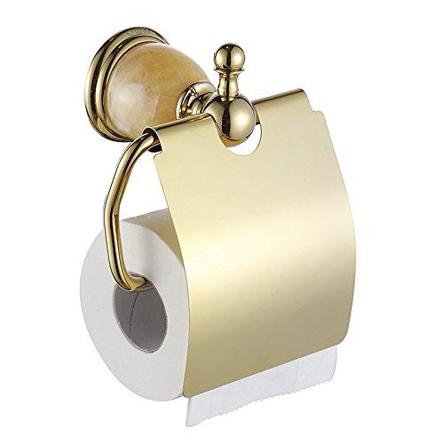 KHSKX Porta-carta igienica rotolo di asciugamani di carta europea titolare di rame placcati in oro intarsiato di base bagno giada hardware