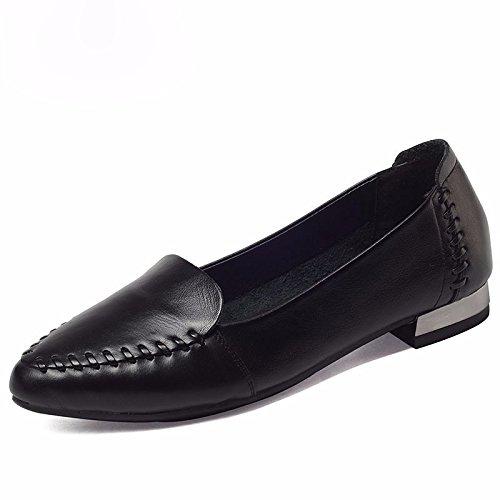 GTVERNH Frühjahr und Im Herbst Arbeit Schuhe Frauen Schuhe Schwarz Karriere Dick mit der Spitze des Licht der Einzigen Schuhe Leder Schuhe Schwarze Frauen Stewardessen 36 (Licht Schwarz Einzigen)