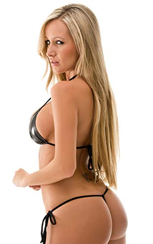 1a8fd7ca72 Mpitude Faux Leather Extreme Micro Bikini Set Lingerie Bra Panty String  Bikini T Back Womens Bikini ...