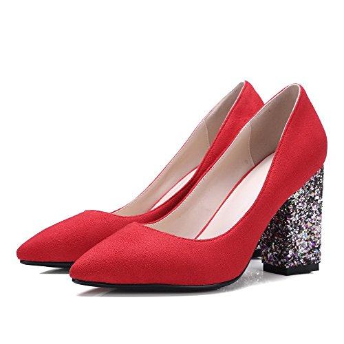 AllhqFashion Femme Suédé à Talon Haut Pointu Couleur Unie Tire Chaussures Légeres Rouge