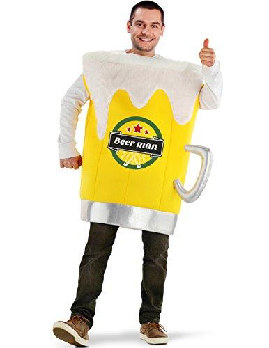 Party-Teufel Bierglas Kostüm Herren Bierflasche Männer Schaum Anzug Bierkostüm Bierglaskostüm Einheitsgröße Overall