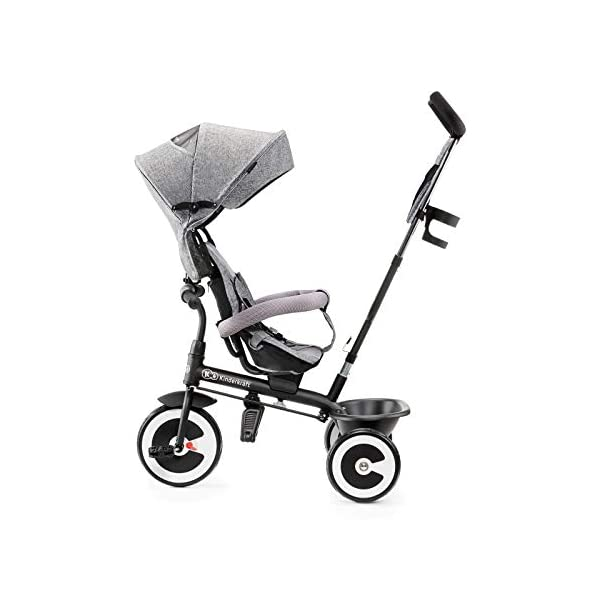 Kinderkraft Aston KKRASTOGRY0000 Tricycle with Accessories in 3 Colours Grey kk KinderKraft Five point safety straps for the shoulders and an additional strap between the legs to protect the child from falling out A mechanism that connects the parent handlebar with the child's handlebar so that parents can have full control over the bike guidance when required. Free-wheel that causes the child to rmble freely regardless of the person who leads the bike 2