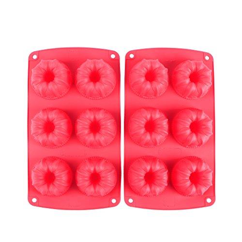 Silikon-cupcake-kuchen-form (Webake 2er- Set Mini Gugelhupfform, Muffinförmchen für 6 Muffins Cupcake, Bronnies, Kuchen, Pudding Form aus Silikon, antihaftbeschichtet Ø6.7cm Rot)