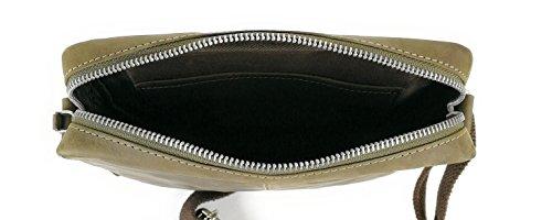 Zerimar Borsa a Tracolla in Pelle Più compartimenti Portafoglio Uomo Portafoglio Donna Colore: Nero Misure: 24x22x5 cm marrone