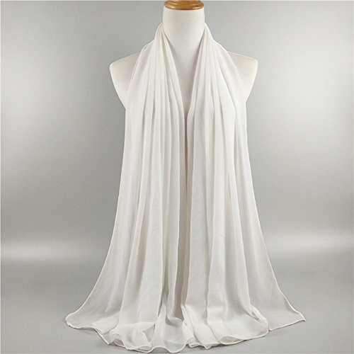 ❤️ SAFIYA - Hijab Kopftuch Halstuch für Damen I Kopfbedeckung 75 x 180 cm I Islamische Muslim Gesichtsschleier, Schal, Haartuch, Pashmina, Turban I Chiffon - Weiß - 2