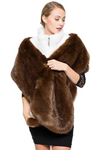 adelaqueen-femmes-mode-classique-luxe-parti-brown-faux-fourrure-mink-shawl-tan