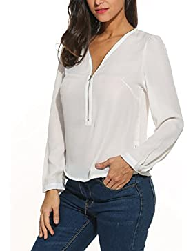 Meaneor Blusa para Mujer Casual en Cuello V Cremallera Camisa de Gasa Manga Larga