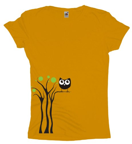 Ma2ca - Black Owl Tree - Eulen T-Shirt Sunflower