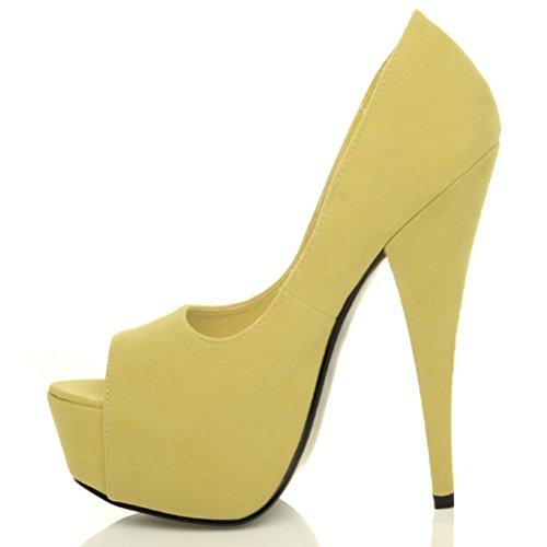 Femmes plateforme talon haut bout ouvert classique chaussures sandales pointure Jaune Pâle Daim