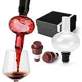 Copa de vino y aireador 2 en 1 Yobansa, vaso aireador de vino, decantador de vino, vidrio, Bulb Decanter