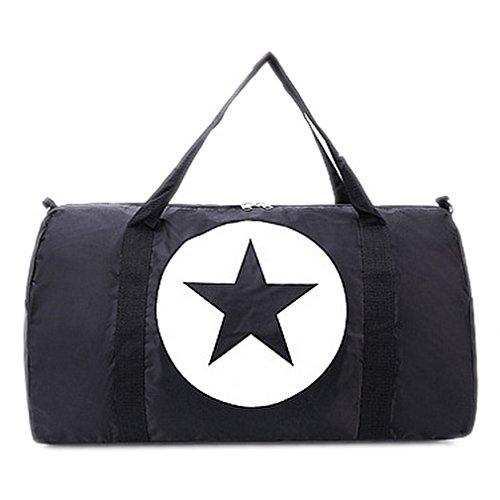 BACKSPORT Damen Herren Klassische Sporttasche Matchbag Reisetasche Henkel Tasche Club Sport Reise Wasserdicht (#A Schwarz, L)