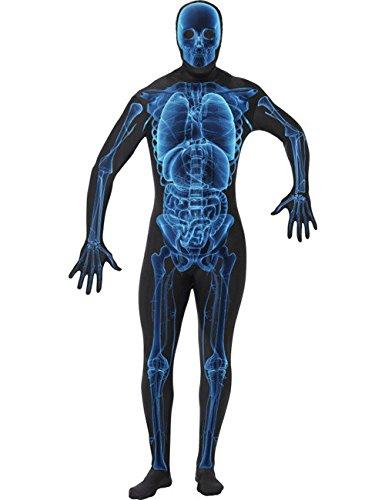Second Skin Suit Skelett Röntgenstrahlen Halloween Kostüm schwarz blau (Suit Skelett Skin)