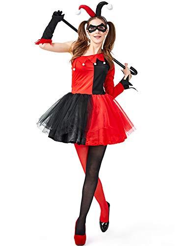 Monissy Damen Harley Quinn Kostüm Set aus Kleid Augenmaske Handschuhe Haarreife Halloween Clown Kostüm Harlekin Kostüm Cosplay Kleid für Karneval Fasching Verkleidung Party in Größe M L (Dc Women's Harley Quinn Kostüm)