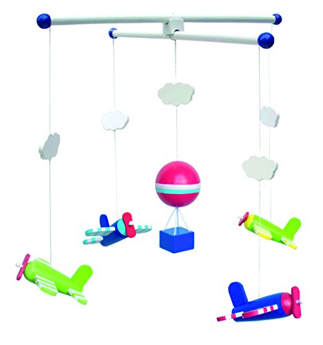 gn Babyzimmer Mobile Holzmobile Holz Flugzeug Heißluftballon Wolke Blau Grün 35x35x40cm ()