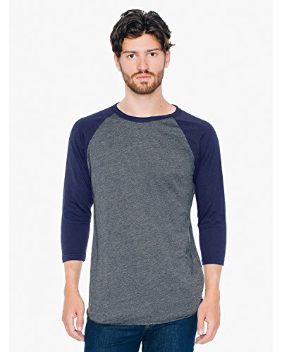 American Apparel poly-cotton 3/4 Sleeve Raglan Shirt HTH BLK/ NAVY