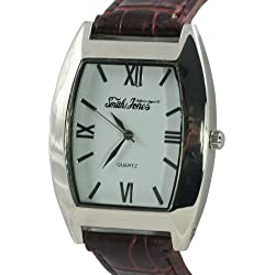 Smith and Jones Men's Quartz Watch with White Dial Analogue Display and Brown PU Strap JON09/C