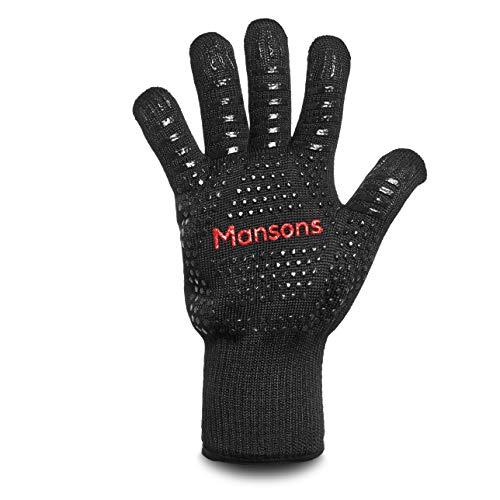 41yabEP2  L - Mansons Grillhandschuhe - Extrem hitzebeständige Topfhandschuhe bis 500 °C - Ofenhandschuhe für Küche & Grill - Feuerfeste Kochhandschuhe mit extra langem Unterarmschutz | Hitzeschutzhandschuhe