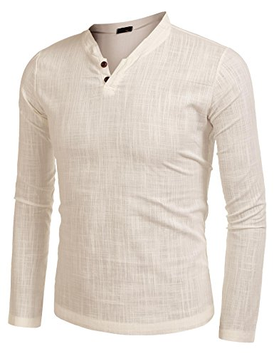 Zeela Herren Stehkragen Leinen Hemd Slim Fit Casual Langarmshirt Shirts Oberteile Khaki