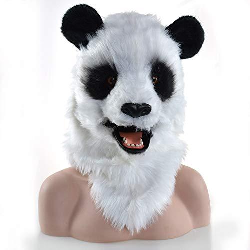 MUJUN Panda Kopf Maske, Maskerade Halloween Karneval Geburtstag Party Kostüm realistisch handgefertigt angepasst Tier Cosplay beweglichen Mund mit Fell verziert (Color : White, Size : 25 * (Panda Kostüm Kopf Nur)