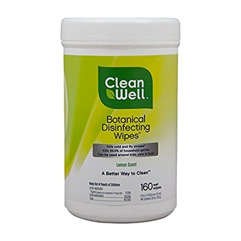 Botanical Disinfecting Wipes, Lemon Scent, 160 count by Cleanwell