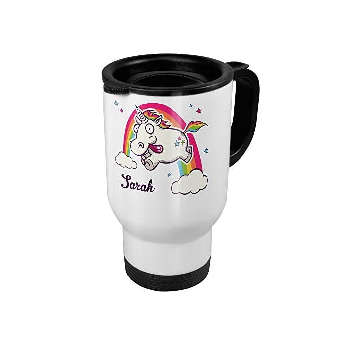 printplanet Thermobecher weiß mit Namen Sarah - Motiv Verrücktes Einhorn - Coffee to Go Becher, Thermo-Tasse