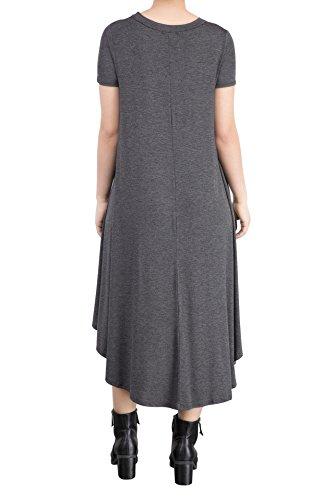 SHISHANG Robe de dames sélection trois couleurs lâche jupe d'été haute conjoint élastique Grey